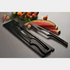 Teflon coated nesting knives. The ergonomic design of the knives was inspired by the Fibonacci Sequence.