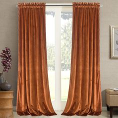 Roslynwood Home Velvet Bright Orange Curtain 84 inch - Heavy Duty Curtains Energy Efficient Block Light Rod Pocket Drapes Window Covering Set for Home Theatre/Living Room, 52Wx84L Orange/2 Panels