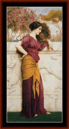 The Peacock Fan, 1912 - Godward cross stitch pattern by Cross Stitch Collectibles