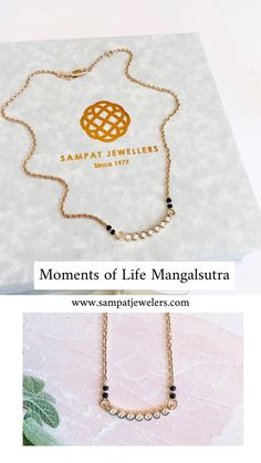 Moments of Life is a simple diamond mangalsutra pendant. A sophisticated jewel for daily wear. A modern mangalsutra with seven diamonds set in an arc. The piece finishes with two cultural mangalsutra beads on each side. The seven diamonds represent the seven promises of marriage. Made with solid gold and real diamonds. Handmade in love.