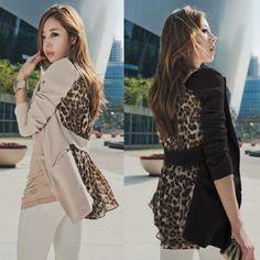 herfst vrouwen kantoor dame chiffon luipaard enkele knop slim fit blazers kleine pak bovenkleding, kaki $17.50 (free shipping)