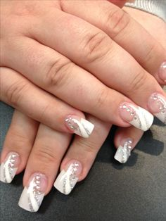Solar nails French tips with white and silver design
