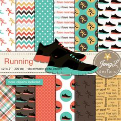 Running Digital Papers and Clipart Running Shoes Track and