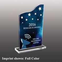 Stock Shaped Full Color Acrylic Awards - Small Custom Trophies, Acrylic Awards, Custom Awards, Employee Appreciation, Rectangle Shape, Company Names, Corporate Gifts, Messages, Shapes