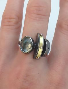 Finger Units with Green Amethyst by Janine DeCresenzo: Gold, Silver, & Stone Ring available at www.artfulhome.com