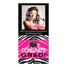 Personalized Pink Black Zebra Graduation Party Personalized Photo Card Announcement #classof2014 #graduation #gradparty @Zazzle Inc.