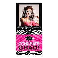Personalized Pink Black Zebra Graduation Party Personalized Photo Card Announcement #classof2014 #graduation #gradparty @Zazzle Inc.