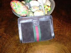 pretty GUCCI suede and typical cotton stripe purse