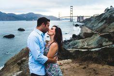 San Francisco Engagement Session.  Golden Gate Bridge Engagement photos at the beach.