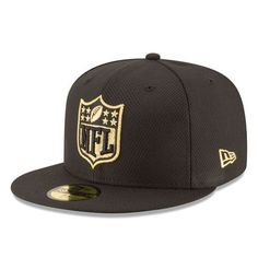 ec113e62ae9 Men s NFL Shield New Era Black Gold 59FIFTY Fitted Hat