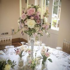 Candelabra flowers that are natural, relaxed and pretty. Decorated at the base with little vases to match. www.thelilylocket.co.uk Wedding Venue Decorations, Wedding Venues, Table Decorations, Wedding Ideas, Candelabra Flowers, Flower Centerpieces, Wedding Colors, Wedding Flowers, Color Themes