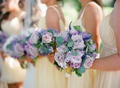 Pretty yellow and purple bridesmaids :)