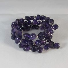 Amethyst and Sterling Silver Memory Wire Bracelet/ Triple Strand Bracelet/ Purple Triple Strand Bracelet/ Handmade, Hand Crafted by NellieAnneDesigns on Etsy