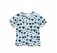 Mini Rodini's Blue Hearts SS Tee, available from Baby Dino, www.babydino.com.au