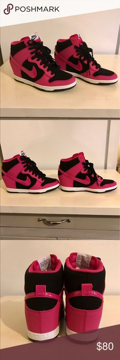 501b78dec8dc 🌷Nike Women s Dunk Sky Hi Black Fireberry Shoe Like New! Nike Bright Pink  Fireberry