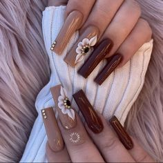 Colourful Acrylic Nails, Brown Acrylic Nails, Brown Nails, Acrylic Nail Designs, Acrylic Art, Thanksgiving Nail Designs, Thanksgiving Nails, White Nails With Gold, Gold Nails