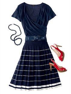 Nautical goes hip! Skirt $100, wrap shirt $45, belt $45 - all from Talbots.
