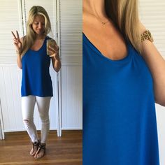 """✨Azure Blue Tank •Item Description: very silky soft, cool against skin- Great for summer. Made well, good quality brandHi lo, relaxed fit, perfect for everyday use or tucked in a cute skirt and heels. Price Firm.   •Modeling: Medium  •Measurements: 12.5"""" shoulders• 17"""" chest• 25.5"""" front length• 28"""" back length.   •Material: 95% Modal 5% Elastane  •Use the """"Buy Now"""" feature or request size to bundle. Thank You Tahari Tops Tank Tops"""