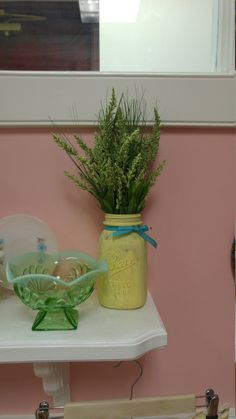Springy green vintage Mason jar arrangement! by ToastyBarkerBoutique on Etsy
