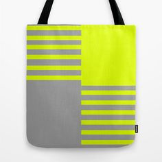 Chartreuse and Grey Color Block Tote, Canvas Tote Bag, Lime Green and Gray Stripes Tote $30.00