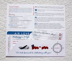 Blue, Red & Gray World Map, Airplanes & Dots Boarding Pass Wedding Invitations