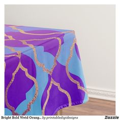Shop Bright Bold Vivid Orange Purple Fuchsia Trefoil Tablecloth created by printabledigidesigns. Orange And Purple, Pink And Gold, Pink Wedding Theme, Wedding Gift Wrapping, The Perfect Touch, Diy Design, Color Pop, Vibrant Colors, Wedding Decorations