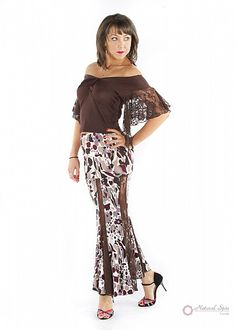 Natural Spin Signature Dance Tops(Short Sleeve):  LT58_BROWN