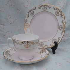 Royal Vale China Trio - Tea Cup, Saucer, Tea plate, Vintage English Bone China, Pale Pink and Gilt for Tea Set by ImagineHowCharming on Etsy