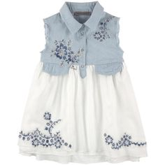 Ermanno Scervino Junior - Short denim and voile dress - 120118 Baby Girl Dress Patterns, Baby Dress Design, Little Girl Dresses, Toddler Fashion, Toddler Outfits, Kids Outfits, Kids Fashion, Fashion Site, Kids Dress Wear