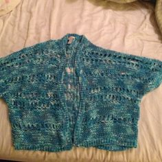 BEAUTIFUL Chicos Blue Shrug - size 2 Soft to the touch, soft to the eyes - beautiful blue and white crocheted shrug by Chicos. When it's made by Chicos, it's made to last..... Chico's Sweaters Shrugs & Ponchos