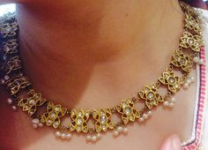 Light kundan polki necklace with Basra tassels
