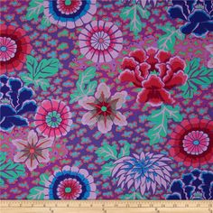Kaffe Fassett Dream Purple from @fabricdotcom  Designed by Kaffe Fassett for Westminster, this cotton print fabric is perfect for quilting, apparel and home decor accents. Colors include red, aqua, green, grey, shades of purple, shades of blue, and shades of pink.