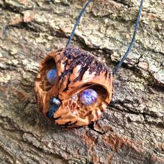 """Hoot"" Carved Black Walnut Owl necklace with Rainbow Moonstone Eyes by FractalFernCreations on Etsy"