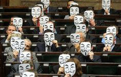 """Anonymous in Polish parliament"". -- Lawmakers from the leftist Palikot's Movement cover their faces with masks as they protest against ACTA, or the Anti-Counterfeiting Trade Agreement, during a parliament session, in Warsaw, Poland, on January 26, 2012, after the Polish government signed the agreement. Poland's plans to sign ACTA sparked attacks on Polish government websites and street protests in several Polish cities this week. (AP Photo/Alik Keplicz) via theatlantic #Poland…"