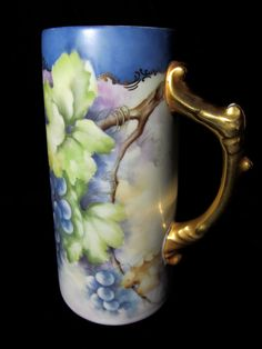 Antique Limoges Grape Mug Signed T.Eddins Hand Painted Tankard