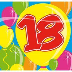 20 stuks servetten 18 jaar. 18 jaar servetten met op de achtergrond gekleurde ballonnen. Het formaat van de 18 jaar feest servetten is 25 x 25 cm.