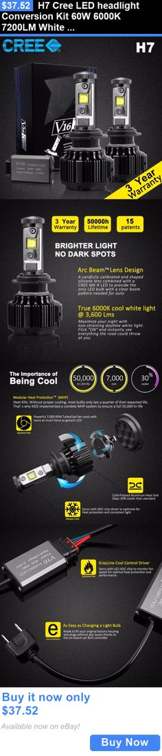 Motors Parts And Accessories: H7 Cree Led Headlight Conversion Kit 60W 6000K 7200Lm White Bulbs Pair BUY IT NOW ONLY: $37.52
