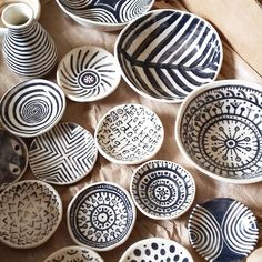 New batch just out of the kiln. Happy with the results!  #blackandwhite #pottery #handpainted #handbuilt #manydesigns #inspiration #homedecor #design #kitchendesign #potsinaction #madewithlove #oceramics