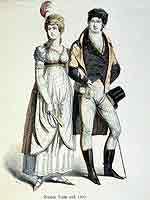 Deutsche Mode mit Langhosen - die fortan das Modebild des Mannes prägen sollten - aus der Zeit nach 1800