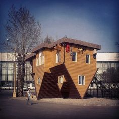 Upside down house at the All-Russia Exhibition Centre, Moscow, Russia.