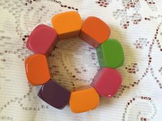 1960's chunky colourful elasticated bracelet by VINTAGEwithaSMILE