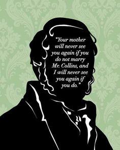 Jane Austen Quote, Mr Bennet 8x10, Pride and Prejudice, Mr. Darcy Proposal,