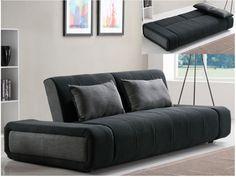 Sofá-cama 3 plazas de tela SOMNUS - Bicolor Antracita/gris