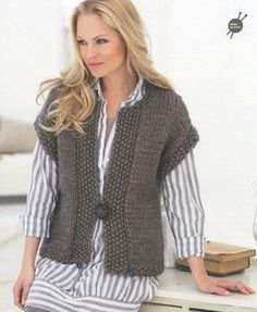 Ideas of free chunky knitting patterns free patterns? yes please NIBJLYP - Crochet and Knit : Popular free chunky knitting patterns knit a sleeveless v-neck sweater: free knitting pattern YUKAUJF Knit Vest Pattern, Crochet Jacket, Knit Jacket, Crochet Shrugs, Free Crochet, Easy Crochet, Free Chunky Knitting Patterns, Knit Patterns, Easy Knitting