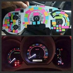 FYI, You Can Use Post-It Notes to Color Your Dashboard Lights First car decor decoration girly fun A Vw Minibus, Jimny Suzuki, Cute Car Accessories, Car Interior Accessories, Scion Tc Accessories, Car Dashboard Accessories, 4runner Accessories, Vehicle Accessories, Girly Car