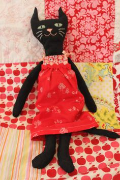 Hand embroidered black cat softie toy by dharmagardener on Etsy