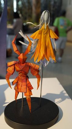 Origami puppets of Kubo's mother and father from Kubo and the Two Strings