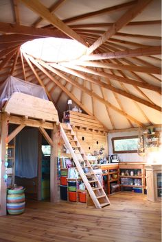 opposing spirals gets the cooler ceiling look while each spiral provides support for the other so the rafters don't crack like Josh's yurt. Looks like a pain to set up, so: idea for a permanent yurt-house