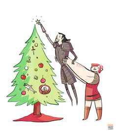 a little Christmas card from Nimona and Ballister!Why get a stepstool when you have a teenage sidekick with the arms of a huge beefy dude?    Also a little heads-up: NIMONA will update tomorrow on schedule, but it will be a little different format than usual, in honor of Christmas! (READ: POSSIBLY NON-CANONICAL CHRISTMAS SPECIAL IN WHICH THE ARTIST IS LAZY AND DOESN'T DRAW A FULL PAGE) Thursday we'll get back to bank heist in progress. Carry on!