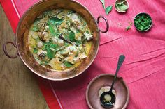 From SAVEUR Issue #167 Carved out of ten former districts of Andhra Pradesh, Telangan officially became India's 29th state in June 2014. For this eponymous dish from Telangana home cook Padma Reddy, the skin is removed from the chicken to allow the flavors of the marinade—coconut, lime, garlic, ginger, cardamom, mace and more—to penetrate.